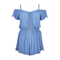 Blue pom pom bardot playsuit ❤ liked on Polyvore featuring jumpsuits, rompers, short sleeve romper, blue rompers, blue romper, off the shoulder romper and pom pom romper