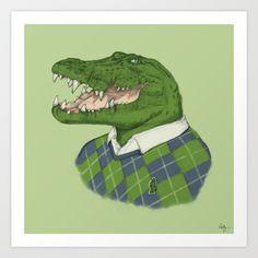 Argyle Crocodile Art Print by Phil Jones   Society6