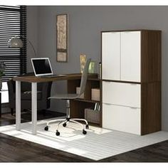i3 by Bestar L-Shaped desk in Tuxedo and Sandstone 150852-78
