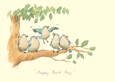 """HAPPY BIRD DAY"" by Alison Friend - A Two Bad Mice Greeting Card"
