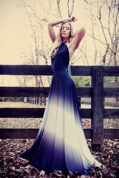 Over the Moon Ombre Satin Jersey Necklace Halter Gown on Etsy, $212.12 CAD