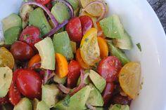 white plate blank slate: Avocado salad