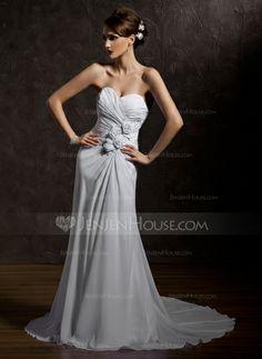 Wedding Dresses - $158.99 - Sheath/Column Sweetheart Court Train Chiffon Wedding Dress With Ruffle Beadwork Flower(s) (002011931) http://jenjenhouse.com/Sheath-Column-Sweetheart-Court-Train-Chiffon-Wedding-Dress-With-Ruffle-Beadwork-Flower-S-002011931-g11931