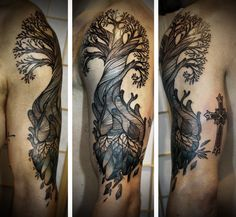David Hale - tattoo artist.  This guy's work is amazing. His line quality is mind blowing.