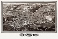 Old Map of Ithaca New York 1882 Tompkins County Poster