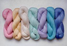 Pastel Rainbow set  7 linen thread skeins by YarnStories on Etsy