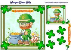 St Patrick s Day leprechaun on Craftsuprint designed by Donna Kelly - Cute, fun, and colourful St. Patricks day card. Sheet includes a card topper, (approx 7x7) a large tag, (approx 3x3) and decoupage. Cardfront is built on a backgrond from cup668185_2248 - Now available for download!