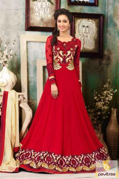 Pavitraa Red Floor Length Anarkali Salwar Kameez Rs 5412.6 #shrdhakapoor #salwarsuits #onlineshoppingdress