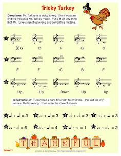 Sing a New Song: Tricky Turkey worksheet. Free printable Thanksgiving music worksheet for Note corrections