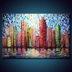 TEXTURED Urban City Buildings Painting. Abstract ORIGINAL 24x36 Canvas. Modern Colorful Fine Art by Federico Farias. $300.00, via Etsy.