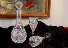 Vintage Crystal Decanter and Pair of Matching Wine Glasses - Three Piece Bar Set - Crystal Stemware - Crystal Decanter with Crystal Stopper by PearlsParlor on Etsy https://www.etsy.com/listing/240992537/vintage-crystal-decanter-and-pair-of
