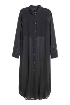 Long chiffon shirt: Long shirt in crinkled chiffon with a collar, long sleeves, high slits in the sides, a doubled top section at the front and a rounded hem. Slightly longer at the back.