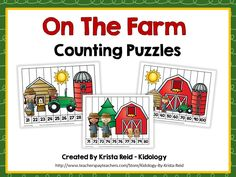 Farm themed math puzzles!  Numbers 1-120.  15 different puzzles in color and blacklines.  They make a great math center and addition to your farm themed curriculum.   $