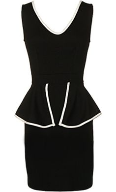 Border Control Dress: Features a soft V-neckline, sleek body-conscious fit, contrast piping highlighting the neck and waist, and the prettiest of all peplum features to finish.