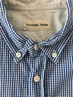 Universal Works Mens Shirt size L blue tight check and white sleeves 22 inch. Check out our other reclaimed clothing brands. Slow Fashion, Mens Fashion, Universal Works, Online Price, Tights, Shirt Dress, Best Deals, Check, Clothing