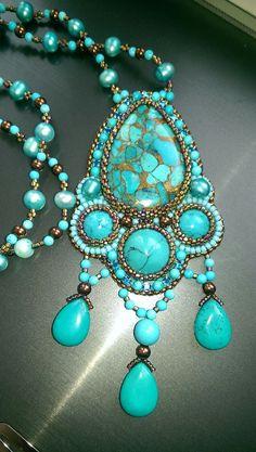 """Купить Кулон """"Бирюзовый"""" - бирюзовый, украшения ручной работы, украшения из бисера, украшения из камней"""
