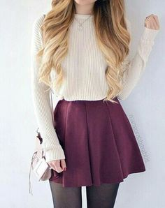 106 Casual Fall Outfit Ideas with Long Sleeved T-Shirt and Skirt … – Casual Dress Outfits Cute Fashion, Look Fashion, Korean Fashion, Autumn Fashion, Fashion Women, Fashion Images, Casual Teen Fashion, Mode Outfits, Dress Outfits