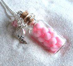 Hope in a Bottle breast cancer awareness ribbon charm by heysista, $12.50