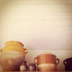 Old French earthenware pots from the kitchen at Little French Retreat.