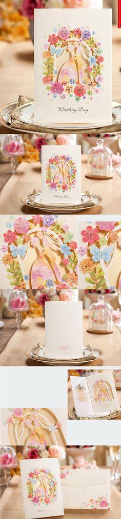 Wedding Invitation 50set Elegant Laser Cut White Paper Card Wedding Decoration Lover Flower Floral Party Wedding Invitation $101.72