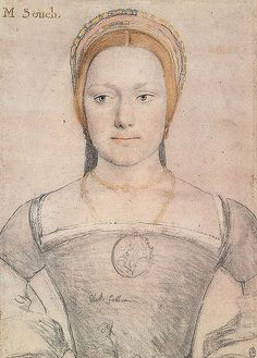 Mistress Zouche, drawn by Hans Holbein (copyright HM Queen). It has been suggested that the 'M' isn't short for Mary but Mistress. If that is the case this could be a depiction of Anne Boleyn's lady-in-waiting Anne Zouche/Anne Gainsford.