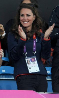 Kate Middleton in Adidas Track Jacket, J Brand 811 skinny jeans, Givenchy sunglasses at Olympic Field Hockey on 8/3/12.