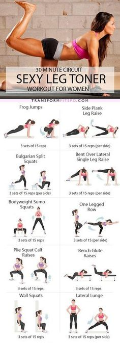 Sexy leg workout routine for women. Tone and sculpt your legs with this lower body circuit workout. This awesome home workout burns fat and will strengthen your muscles. Fitness Workouts, Fitness Motivation, Fitness Goals, Yoga Fitness, At Home Workouts, Health Fitness, Sport Motivation, Physical Fitness, Bodyweight Leg Exercises