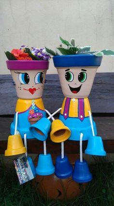 Little boy made out of flower pots Flower Pot Art, Clay Flower Pots, Terracotta Flower Pots, Flower Pot Crafts, Clay Pots, Flower Pot People, Clay Pot People, Clay Pot Projects, Clay Pot Crafts