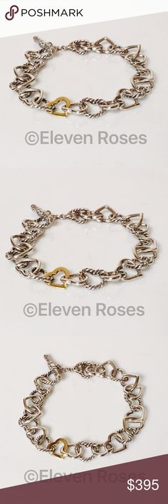 David Yurman Sterling 18k Cable Heart Bracelet David Yurman Cable Heart Link Bracelet - 925 Sterling Silver & 750 18k Yellow Gold -  Toggle Clasp / Closure - Exact Size As Shown -  Preowned / Preloved  💕 May Show Slight Signs Of Having Been Worn.    📷  Listing Images Are Of Actual Item Being Offered David Yurman Jewelry Bracelets