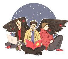 Sam, Dean, and Castiel ||| Christmas ||| Supernatural Fan Art