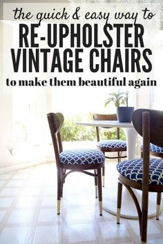 Here's the lowdown on how to take a vintage chair with a lot of potential but horrible fabric and turn it into something you'll cherish forever. You'll be shocked at how quick and simple it is to re-upholster these chairs!