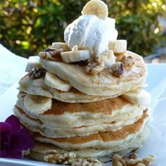 "Banana Pancakes I | ""Crowd pleasing banana pancakes made from scratch. A fun twist on ordinary pancakes."""