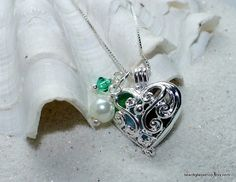 Sea Glass Heart Locket Beach Glass Necklace Lake by beachglassshop, $28.00