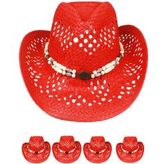 9f8f6cad0d3 COWBOY HAT Western RED COLOR HAT MEN WOMEN Cowgirl VALENTINES GIFT