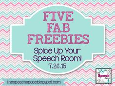 The Speech Space: Five Fab Freebies: Spice up your Speech Room!