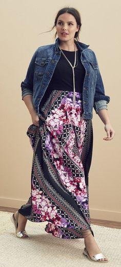 Plus Size Scarf Print Jersey & Crepe de Chine Maxi Dress