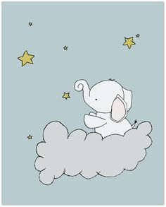 Elephant Nursery Art - Elephant Star Cloud