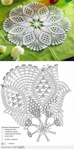 The scheme of knitting cloth with grapes 'thread - knitwear for your home, crochet, knitting, crochet scheme Hobby: Damskie pasje i hobby. Odkryj i pokaż innym Twoje hobby. / serweta na Stylowi. Stylowa kolekcja inspiracji z kategorii Hobby This Pin was Art Au Crochet, Beau Crochet, Crochet Doily Diagram, Crochet Mandala Pattern, Crochet Doily Patterns, Thread Crochet, Crochet Designs, Crochet Stitches, Crochet Braid