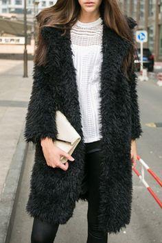 Turn-Down Collar Flocking Coat BLACK: Jackets & Coats | ZAFUL