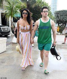 Priyanka Chopra shows off her bikini body as she takes to the waves with husband Nick Jonas in Miami Katrina Kaif Photo, Priyanka Chopra, Shraddha Kapoor, Ranbir Kapoor, Bikini Workout, Bikini Fitness, Striped Swimsuit, Celebrity Look, Two Piece Dress