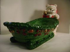 "Santa BEAR SLEIGH bowl holiday christmas figurine 12 "" candy dish  - AS IS FLAWS"