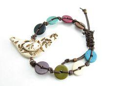 Folk Art Bird Ceramic Beaded Bracelet Adjustable by BooBeads, $28.00