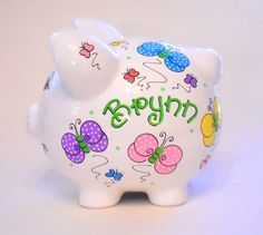 Personalized Piggy Bank Polka Dot Butterflies and Ladybugs in Hot Pink Personalized Piggy Bank, Color Change, Polka Dots, Clip Art, Butterfly, Hand Painted, Handmade Gifts, Piggy Banks, Prints