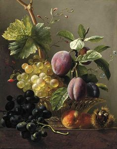 View Grapes, prunes, peaches and a chessnut on a ledge by Georgius Jacobus Johannes van Os on artnet. Browse upcoming and past auction lots by Georgius Jacobus Johannes van Os. L'art Du Fruit, Plum Fruit, Fruit Art, Fruit Cakes, Fruit Painting, China Painting, Dutch Still Life, Still Life Fruit, Painting Still Life