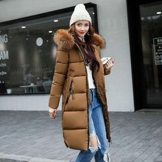 2017 New Autumn Winter Parkas Big Fur Collar Hooded Slim Long Cotton-padded Jacket Warm Ladies Coat Female Outwear parkas Plus Size Winter Jackets, Winter Jackets Women, Coats For Women, Clothes For Women, Ladies Coats, Long Winter Jacket, Winter Parka, Anorak, Winter Fashion