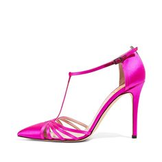 #FSJshoes - #FSJ Shoes Hot Pink T Strap Sandals Satin Closed Toe Stiletto Heels - AdoreWe.com