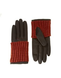 Leather Gloves with Contrast Knit