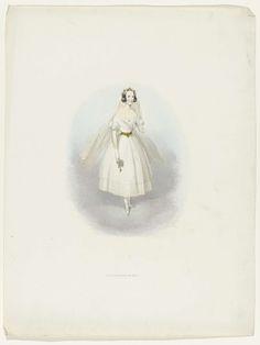 J.P. Beekman Hzn. | Vrouw in bruidsjurk, J.P. Beekman Hzn., 1841 | Vrouw in witte bruidsjurk. Kostuum gedragen op het gekostumeerde bal gehouden te Den Haag op 17 en 19 februari 1841 bij het 25-jarig huwelijk van koning Willem II en Anna Paulowna.