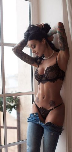 There's just something about hot girls and tattoos that is simply irresistible. There's just something about hot girls and tattoos that is simply irresistible. Sexy Lingerie, Gothic Lingerie, Honeymoon Lingerie, Lingerie Sets, Lingerie Outfits, Hot Girls, Tattoo Girls, Girl Tattoos, Sexy Bh