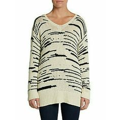 Townsen V-neck Sweater Brand new with tags. No defects or stains.  Soft knit with contrast striations, V-neck, Dropped shoulder, Ribbed cuffs and hem  Viscose/nylon/cotton/cashmere/wool  Size Small, Color Cream/Black  NO trades. Negotiate through offer button only. Townsen Sweaters V-Necks